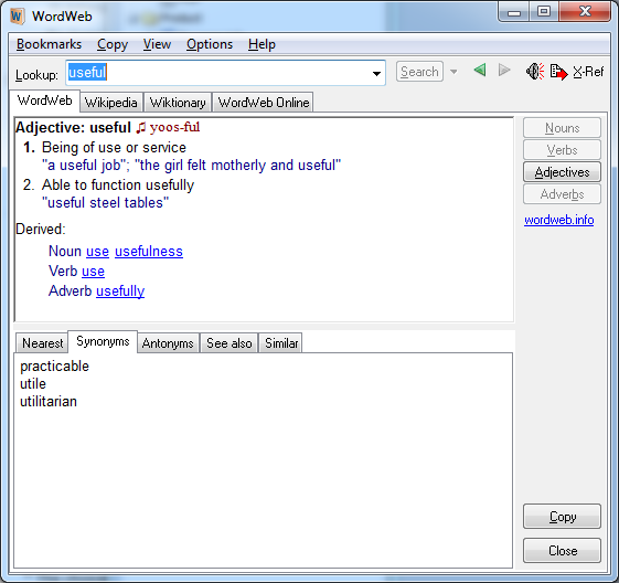 Click to view Latest WordWeb 7.1 screenshot